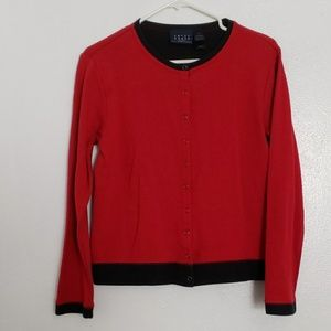 Crazy Horse red & navy soft snap button cardigan